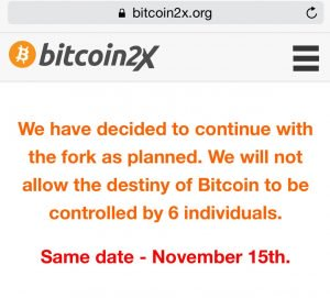 A New Website Claims the Segwit2x Hard Fork Isn't Going Away