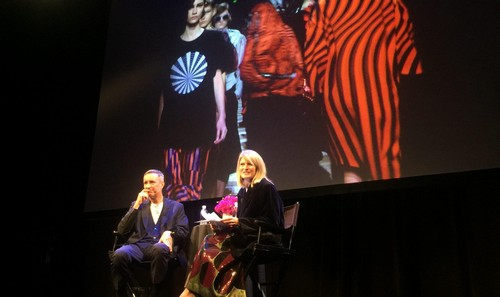 Dries Van Noten and Dana Goodyear at the New Yorker Festival.