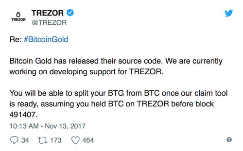 Trezor Announce Support for Bitcoin Gold But Other Platforms Steer Clear
