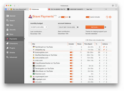 Brave Payments page