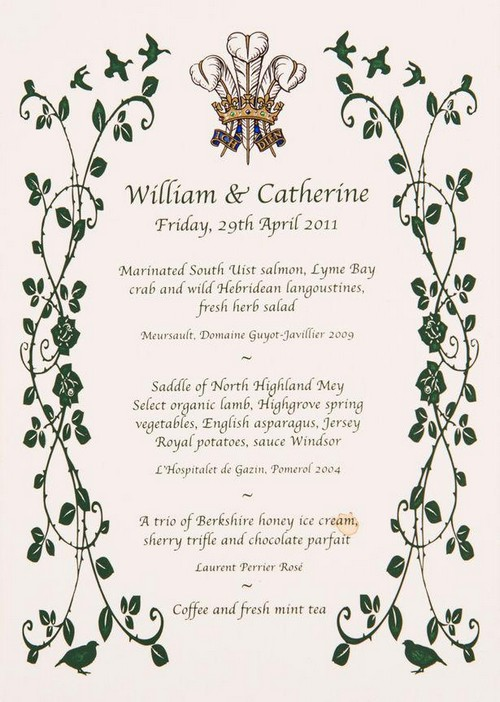 A breakfast menu from Prince William and Kate Middleton's wedding sold at auction for more than £800.