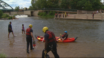 water safety 5pkg frame 1883 Crews Practice Water Rescue In Rushing Waters Of Clear Creek