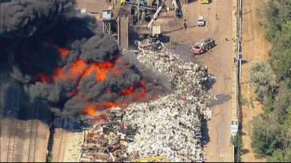 recycling fire 4 Burning Pile Of Recycling Puts Out Thick, Black Smoke Over Denver