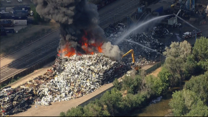 recycling fire 1 Burning Pile Of Recycling Puts Out Thick, Black Smoke Over Denver