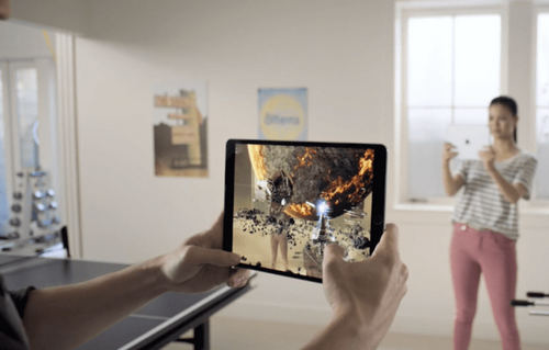 A multiplayer AR game. (Image from Apple.)