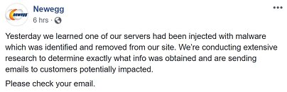 Newegg Compromised by Magecart Assault, Potential Data Theft for Over a Month