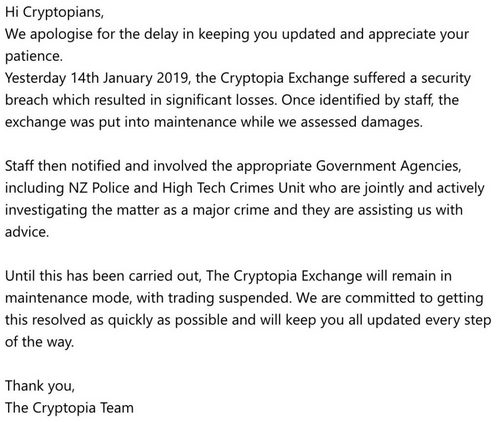 Cryptopia Exchange Hacked, Investigations by New Zealand Authorities Ongoing