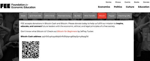 Free Market Think Tank FEE Now Accepts Bitcoin Cash Donations