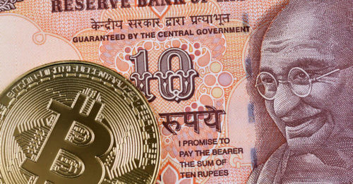 Cryptocurrency bitcoin image with Indian rupee showing RBI
