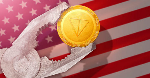 Telegram TON coin with US flag in the background