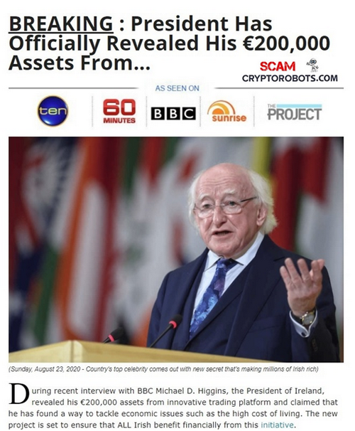 New Bitcoin Scam Uses Michael D. Higgins In Fake Endorsement